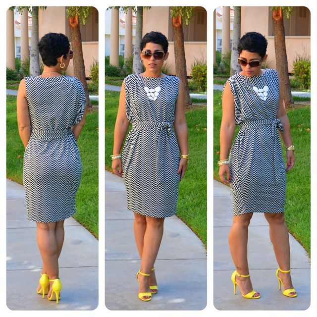 mimi g.: DIY Chevron Print Dress + Pattern Review of V8898 View B  pattern: http://voguepatterns.mccall.com/v8898-products-46639.php?page_id=855 fabric: http://lowpricefabric.com/p-7420-chevron-knit-ml240075-black-white.aspx