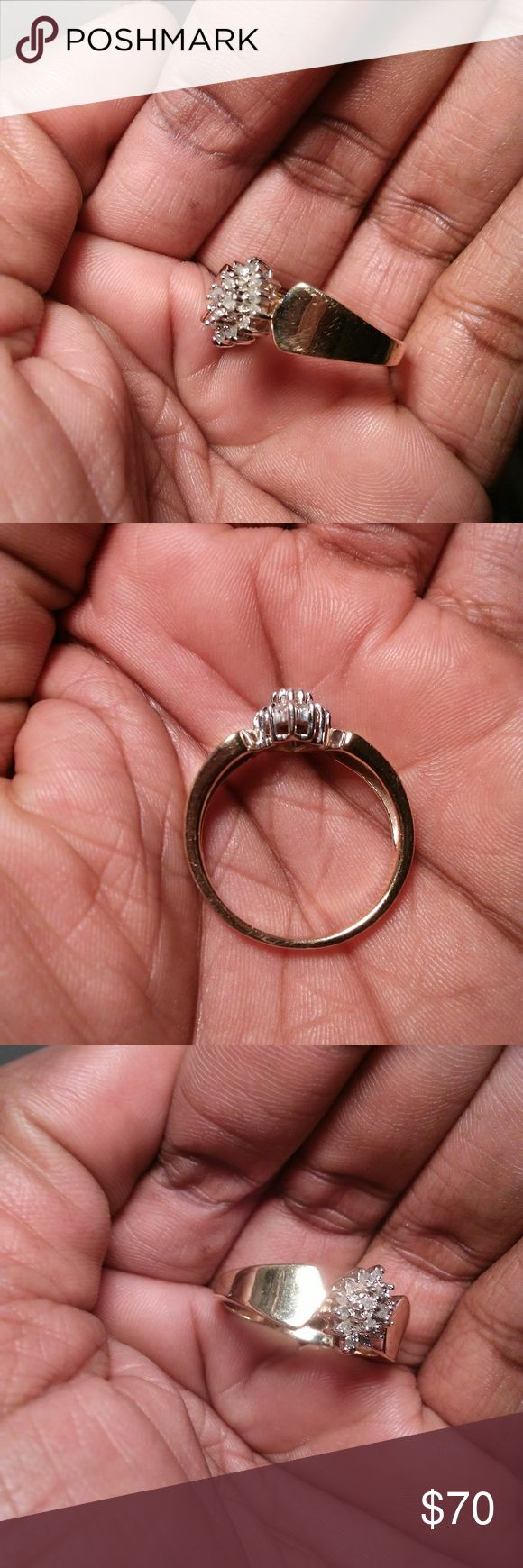 REAL DIAMONDS RING Good Condition.. Size 8 1/2.. Real Diamonds.. Marked 925'.. This is Sterling Silver.. But a gold color.. TESTED BY A JEWELER.. Kay Jewelers Jewelry Rings