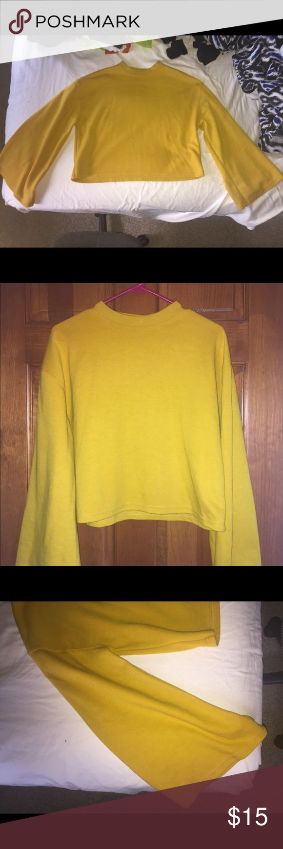 Yellow Bell Sleeve Shirt | SIZE XS Cute bell-sleeved yellow shirt! Soft material, lightly worn. Primark Tops