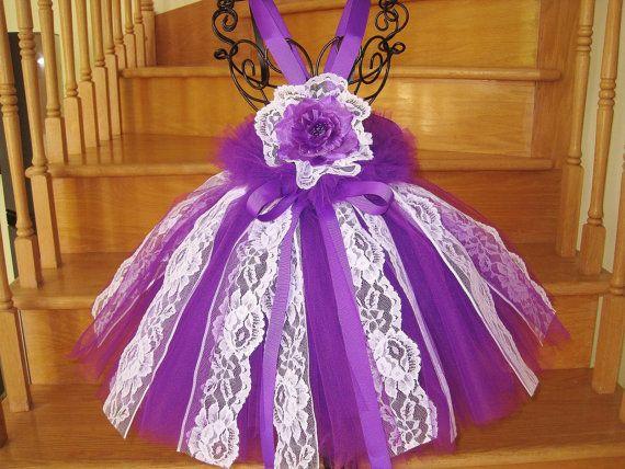 WHITE LACE PURPLE Tutu Dress Fluff at Waist Babies by ElsaSieron, $75.00