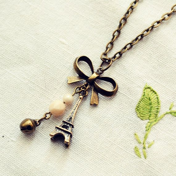 Antique Bronze Paris Necklace with Eiffel by DearDelilahHandmade