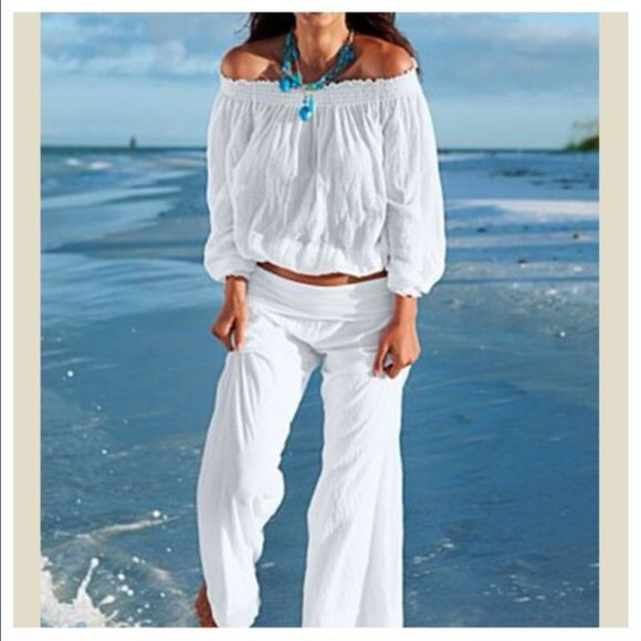 White fold waist linen pants ONE DAY SALE Best fitting best selling white fold waist linen blend pants PLEASE DON'T PURCHASE THIS LISTING WILL MAKE YOU A PERSONALIZED LISTING WITH THE SIZE YOU WANT THANKS Pants