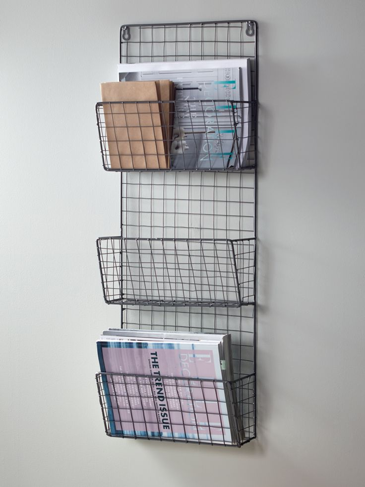 Stylish and practical, our magazine rack has three holders and handy keyholes to secure to your wall. The wire mesh frame lends a touch of industrial style to your office or lounge - pair with our Wire Shelf Rack to intensify the look, or surround with soft furnishings to add femininity.