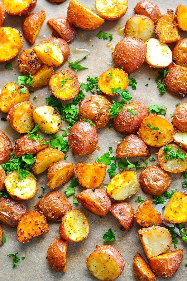 Crispy Seasoned Oven Roasted Potatoes Recipe Oven Roasted Potatoes Side Dish Recipes Easy Roasted Potatoes