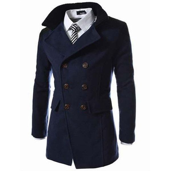 s solid double breasted mid-long thicken trench coat ($33) ❤ liked on Polyvore featuring men's fashion, men's clothing, men's outerwear, men's coats, navy, mens long trench coat, mens fur collar coat, mens double breasted long coat, mens long coat and mens navy coat