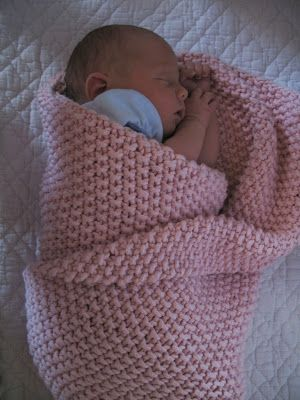 This is the first Yarn Along that includes the model!! Here is our newest little one wrapped in her seed stitch blanket . It's so stretc...