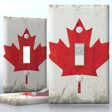DIY Do It Yourself Home Decor - Easy to apply wall plate wraps   Grunge Canadian Flag  Old Canadian flag pattern  wallplate skin sticker for 1 Gang Toggle LightSwitch   On SALE now only $3.95