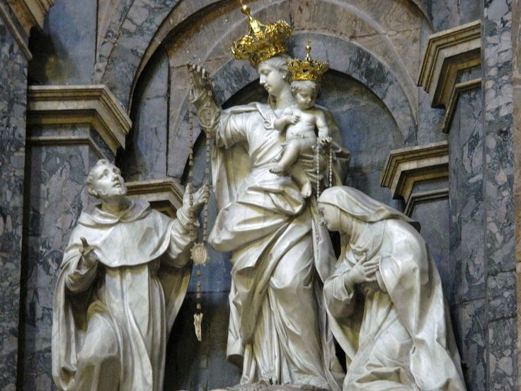 Santa Caterina a Formiello, Naples.  Detail of the Sculptural group by Paolo Benagila in the Chapel of the Rosary.  Our Lady between St. Catherine of Siena and St. Dominic.