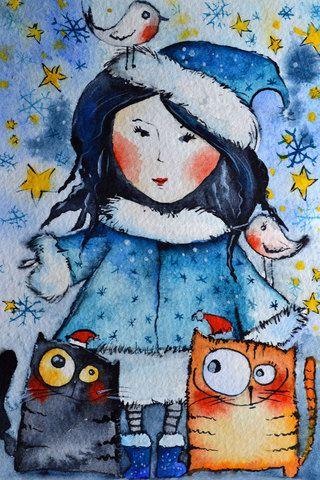 226 Снегурочка и помощники. Рисунок Кати Чуйковой