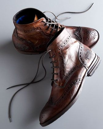 I could fall in love with a guy wearing these boots: Mark Nason Reitop Wing-tip boot.