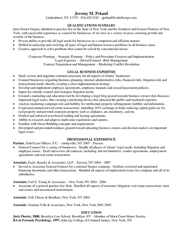 sample resume juris doctor resume general counsel business