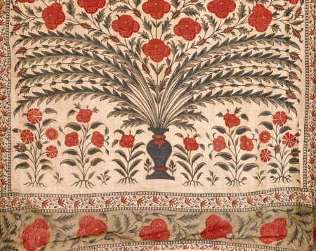 Detail of Chintz tent of Sultan Tipu in the Clive of India Museum at Powis Castle, Powys, Wales
