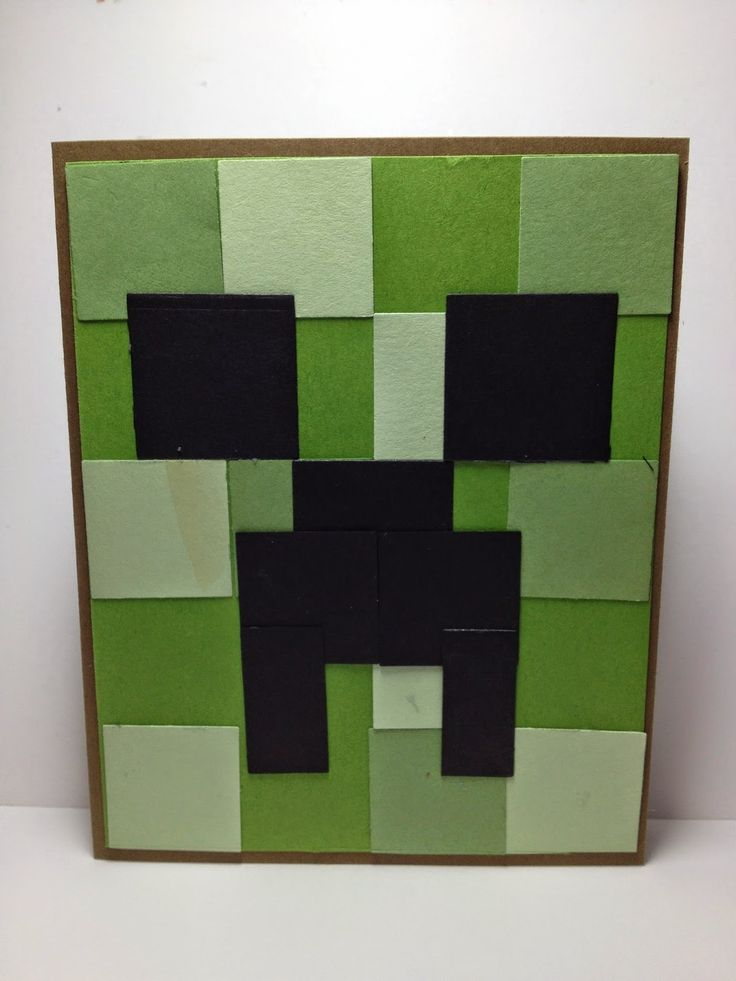 Linda Higgins: One for the boys…..The Minecraft Creeper Card