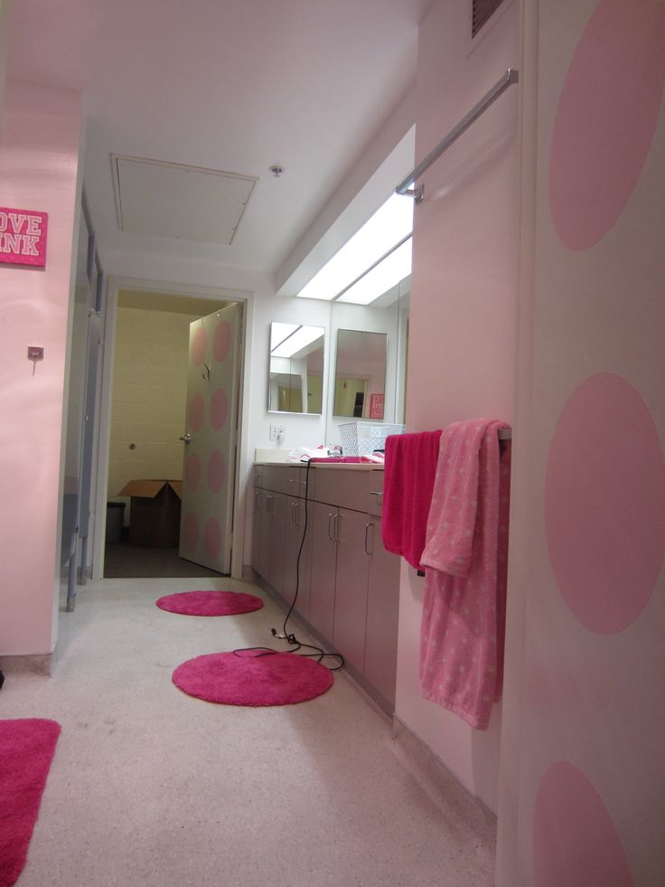 Dorm Room Rugs: Fun Dorm Suite Bathroom. Round Rugs, Target. WallPops