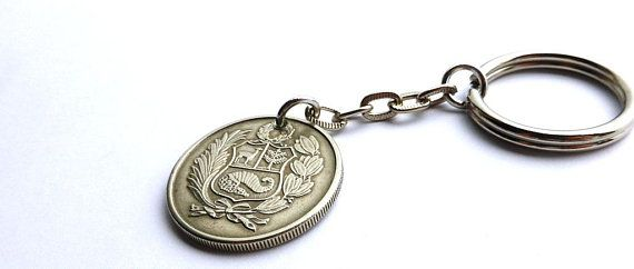 Peru, Keychain, Men's accessory, Men's gifts, Coin keychain, Guys gifts, Accessories, Coin charm, Gifts under 20, Gifts for him, Coins, 1980