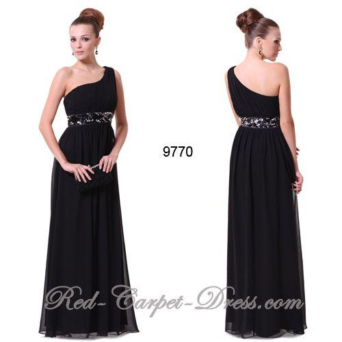 Stunning long black one shoulder asymmetric evening dress.