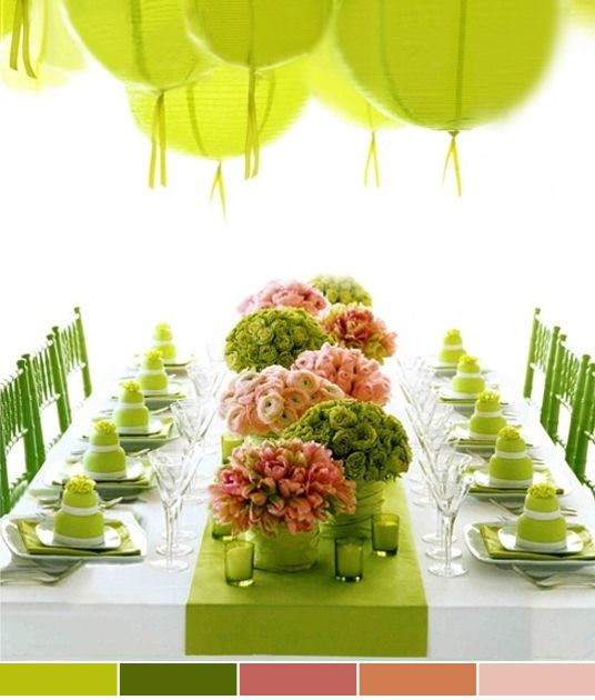 : Tables Sets, Spring Parties, Colors Schemes, Limes Green, Green Parties, Bridal Shower, Parties Ideas, Tables Decor, Green Wedding