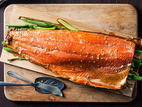 Cedar Planked Salmon with Maple Glaze and Mustard Mashed Potatoes Recipe | Epicurious.com