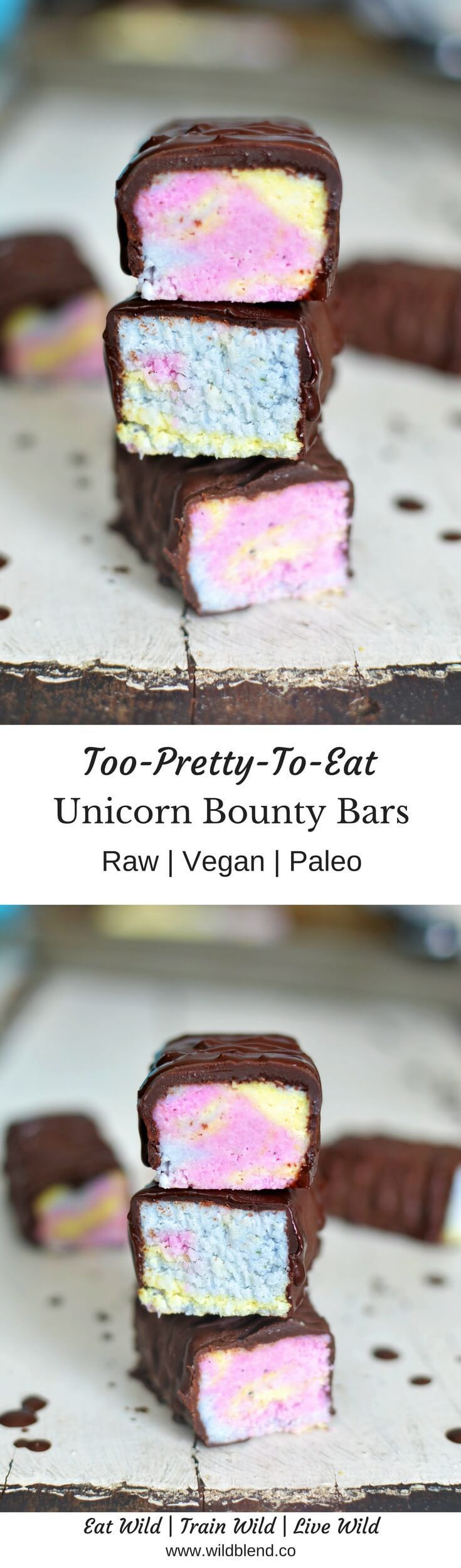 These Unicorn Bounty Bars add sparkle and magic to your life while keeping it naturally healthy. Sans refined sugar or artificial colouring and flavoring! Get the recipe here: http://www.wildblend.co/single-post/2017/05/17/Too-Pretty-To-Eat-Unicorn-Bounty-Bars