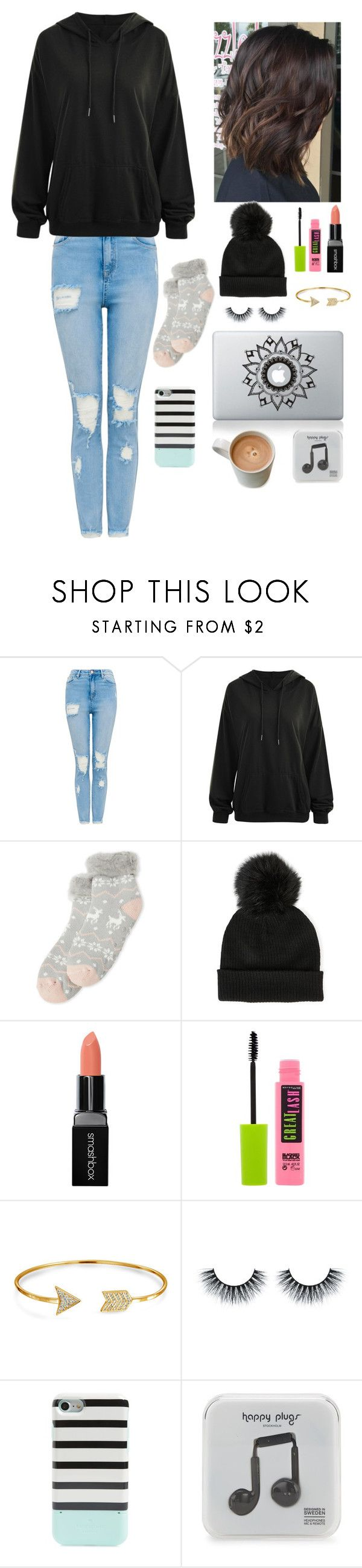 """Day 2 at Tahoe"" by gussied-up ❤ liked on Polyvore featuring Capelli New York, Sole Society, Smashbox, Maybelline, Bling Jewelry, Kate Spade and Happy Plugs"
