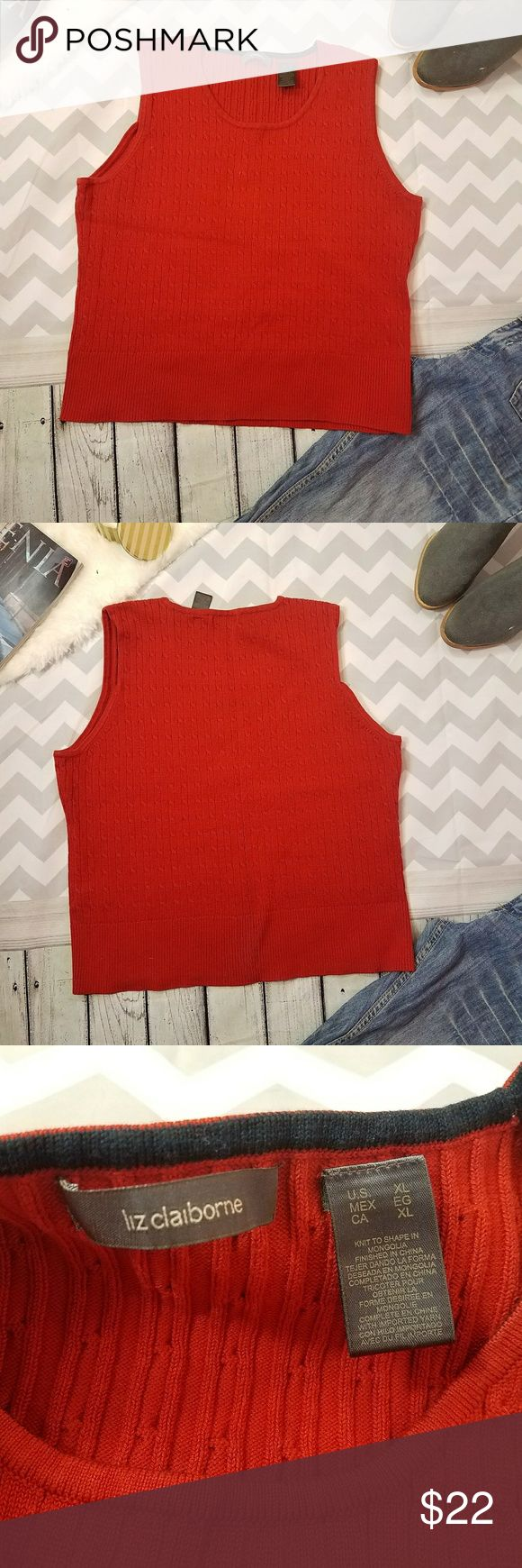 Liz Claiborne Valentine❤cable knit sweater Vest ✔Super cute red cable knitted cotton sleevless sweater  ✔Super adorable and cute ✔Looks great under black or navy cardigan with black mini skirt or black legging ✔82% cotton 👌 ✔No stains or Flaws  ✔tag says Size Xl but I think fits Large better ✔Please see the picture for Measurements ✔19.5 inches pit to pit Liz Claiborne Sweaters