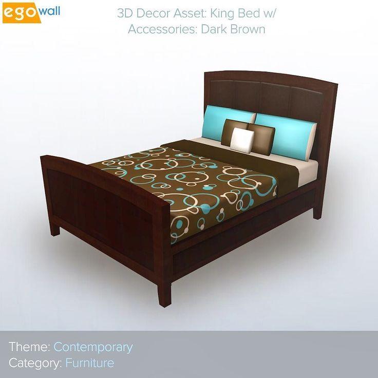 Contemporary King Bed w/Split Headboard - Dark Brown  #friday #contemporary #bed #furniture #brown #aqua #interior #design #interiordesign #beautiful #elegant #decor #interiordecor #home #homes #instadaily #instagood #inspo #inspiration #3d #game #games #