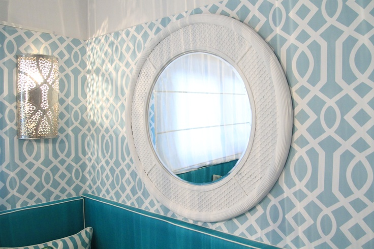 Morrocan Inspired Kitchen Project by Ana Antunes - Tv Makeover Show - Trellis Wallpaper, White Round Mirror, Morrocan Wall Sconce