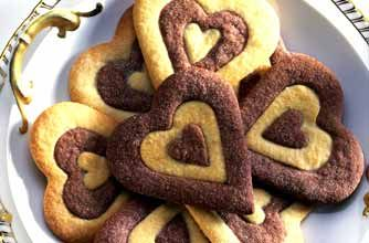 Mary Berry's two-tone heart biscuits recipe - Could make with chocolate and orange. If not vanilla is a nice addition