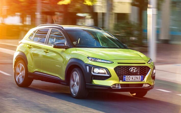 Download imagens Kona Hyundai, 4k, rua, 2018 carros, novo Kona, cruzamentos, Hyundai