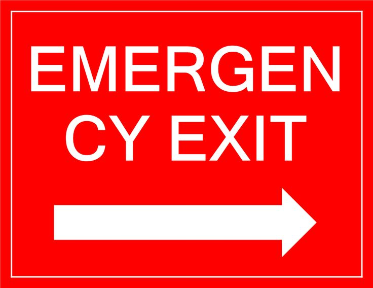 Emergency Exit sign arrow right - Download this free Emergency Exit sign right pointing arrow if you need to inform people in your building about the Emergency Exit location in case of emergency