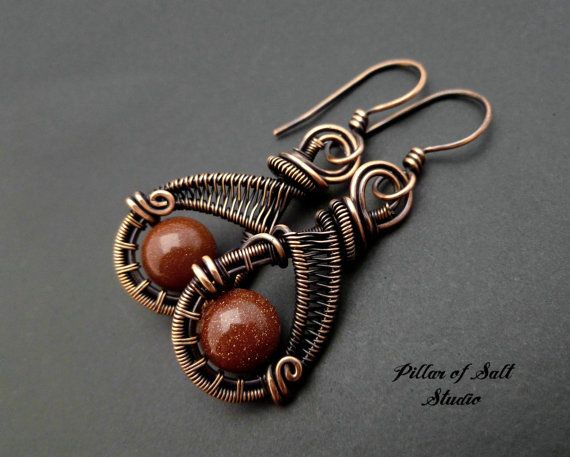 Wire wrapped earrings / brown goldstone / by PillarOfSaltStudio                                                                                                                                                      More