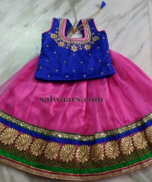 Pink and Blue Kids Lehenga - Indian Dresses