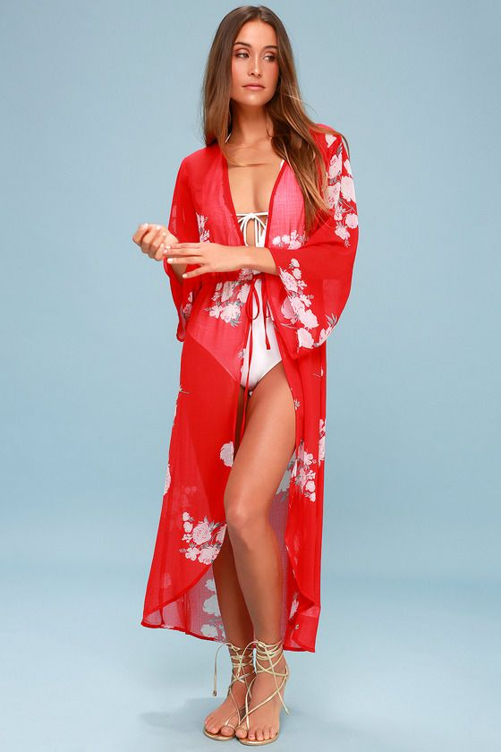 97fb4372ad3 Wander along the waterway (and look cute while doing it!) in the Lulus  Riviera Roaming Red Floral Print Swim Cover-Up! This lightweight, sheer  kimono-style ...