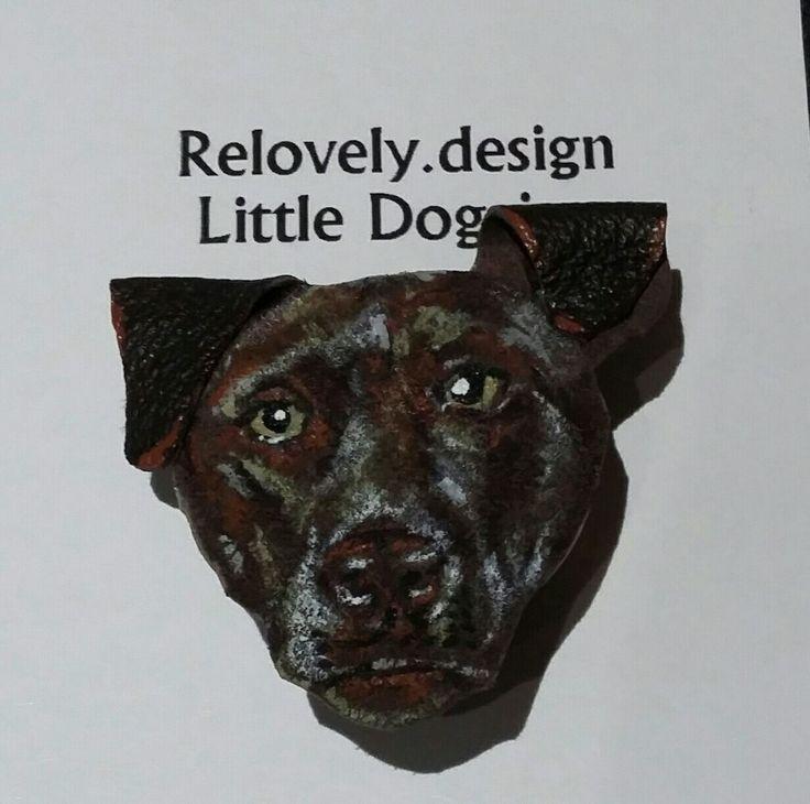 Custom order - chocolate labrador hand painted button badge