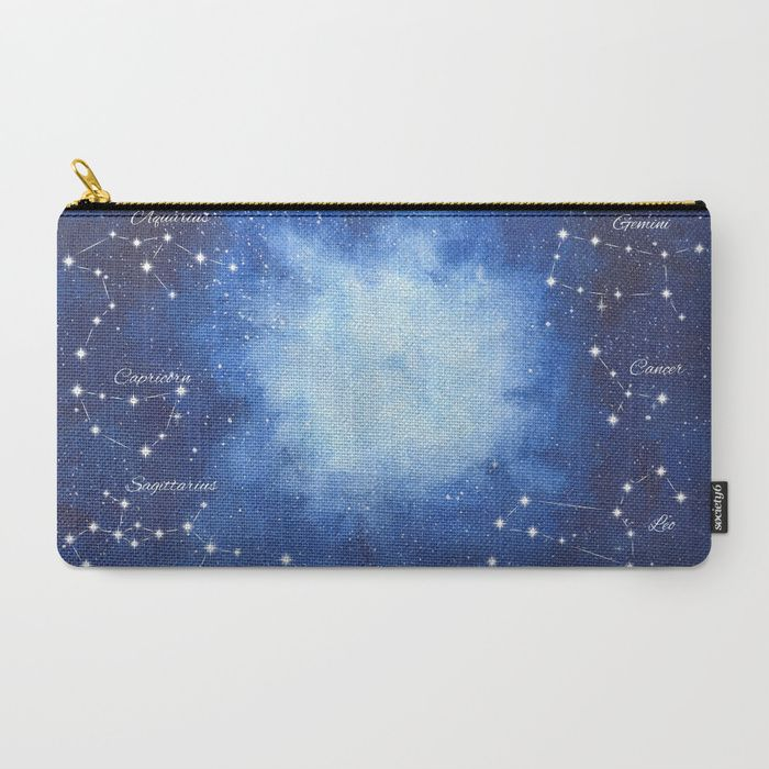 Cosmic Horoscope Carry-All Pouch #space #zodiac #signs #horoscope #universe #galaxy #nebula #stars #constellations #watercolor #painting #night #buy #buyonline #shopping #giftidea #present #society6 #cosmetic #bags #pouch #buypouch