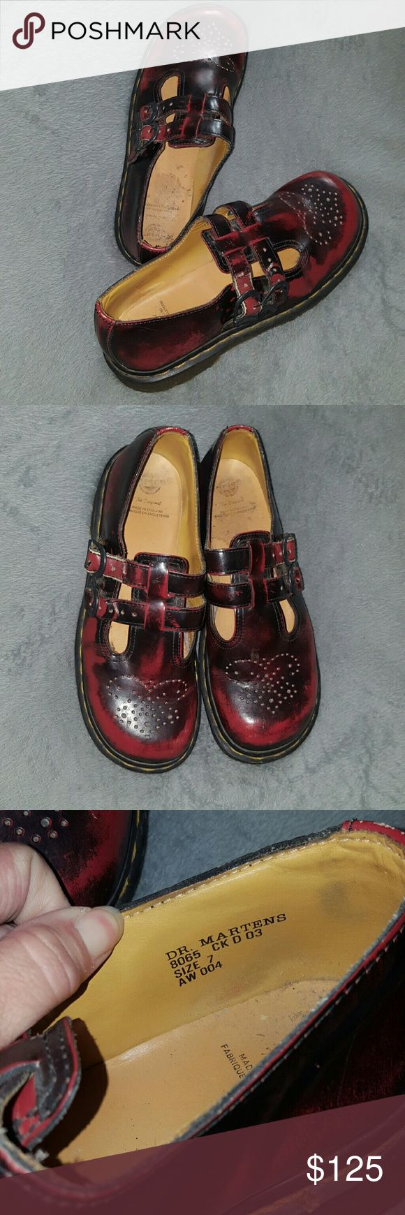 Dr. Martens Mary Jane Shoes UK 7/US 9 Cherry Black Dr. Martens Mary Jane Shoes UK 7/US 9 Cherry Black. Lightly worn...Amazing high quality shoe that lasts! Dr. Martens 8065. I ship daily (#B1 location) Dr. Martens are made in England and size is marked a 7 UK but with thE CONVERSION as pictured from tbe Dr. Martens website is equivalent to a us size 9. Dr. Martens Shoes