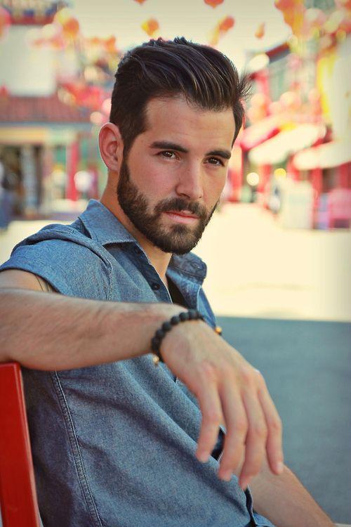 beard, hair, eyes, eyebrows, denim short-sleeve shirt and braclet