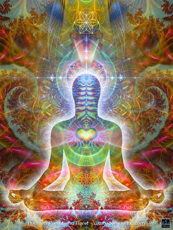 Herz Seele Körper - Herz-Verbindung - Gobelin, Wandbehang, werfen, Bett zu verbreiten - Heilung, Yoga, spirituelle Meditation Kunst, Heilige Geometrie