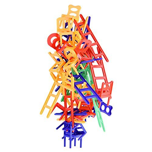 Chairs and Ladders Game. 44 Individual Pieces. Family Balance Game for Stacking the Most Chairs most.