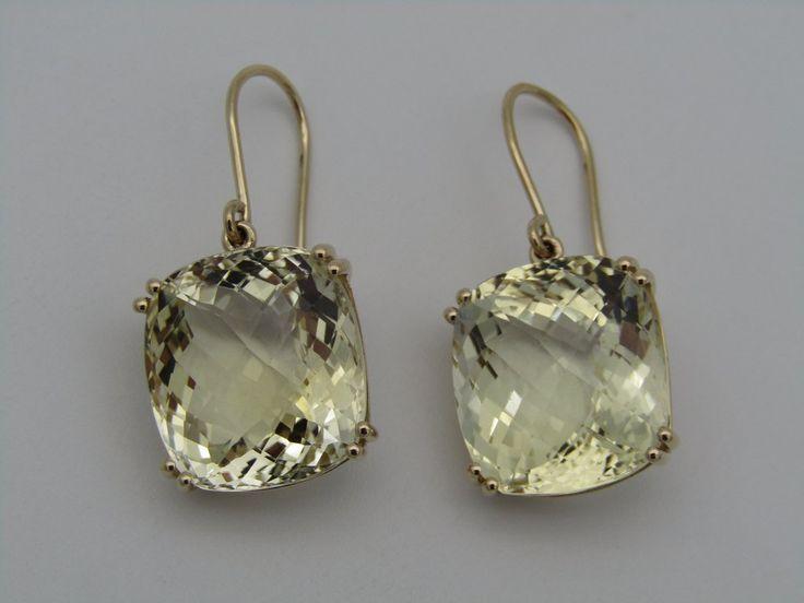 Pair of 18kt gold citrine earrings.