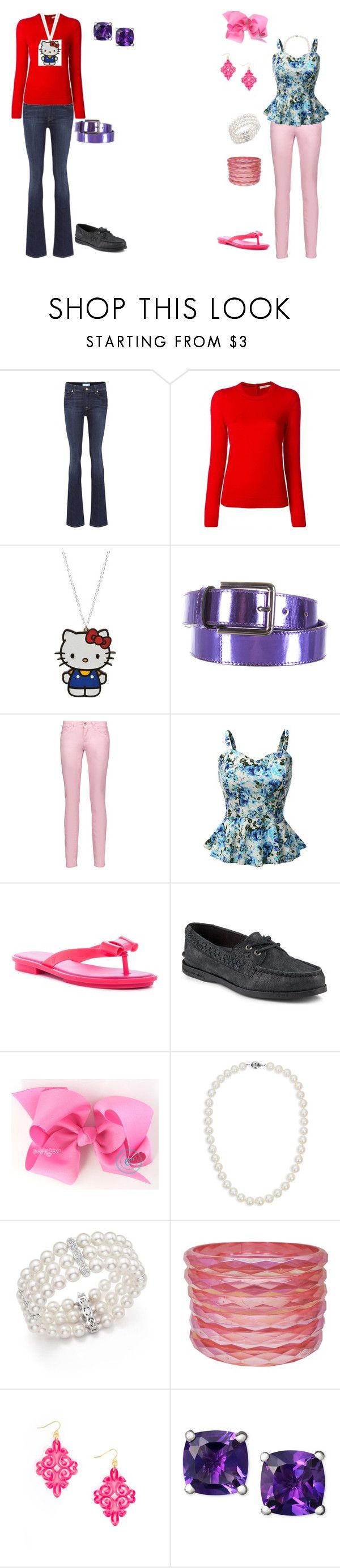 """""""Girly Girl vs Tomboy: Ice cream truck outfits"""" by sierra-ivy on Polyvore featuring 7 For All Mankind, Tory Burch, Hello Kitty, Ports 1961, Just Cavalli, Doublju, Melissa, Sperry, Blue Nile and Bloomingdale's"""