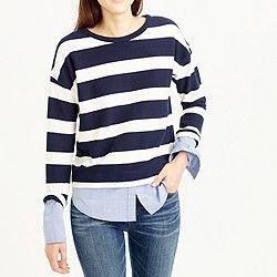 Striped long-sleeve T-shirt with shirttail hem.  Love! Love! Love!