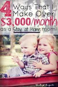 The 4 Ways that I make over 3000 dollars a month as a stay at home mom... and you can too! This is the bets list of ways to make money as a stay at home mom or for someone that wants to be able to quit and stay home with her kids. I usually hate these lists because they list money saving apps or jobs that most people couldn't do. This was the best article I've read on this (and the comments are even better!!) I needed to know how to make 3000 a month