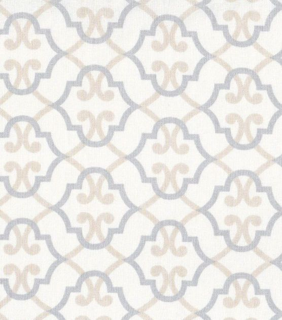 Nursery Fabric Quatrefoil On Beige
