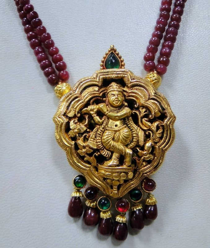 GOLD NECKLACE ~Krishna Pendant with Ruby strand ~  22 K solid gold & Ruby gemstones beads necklace