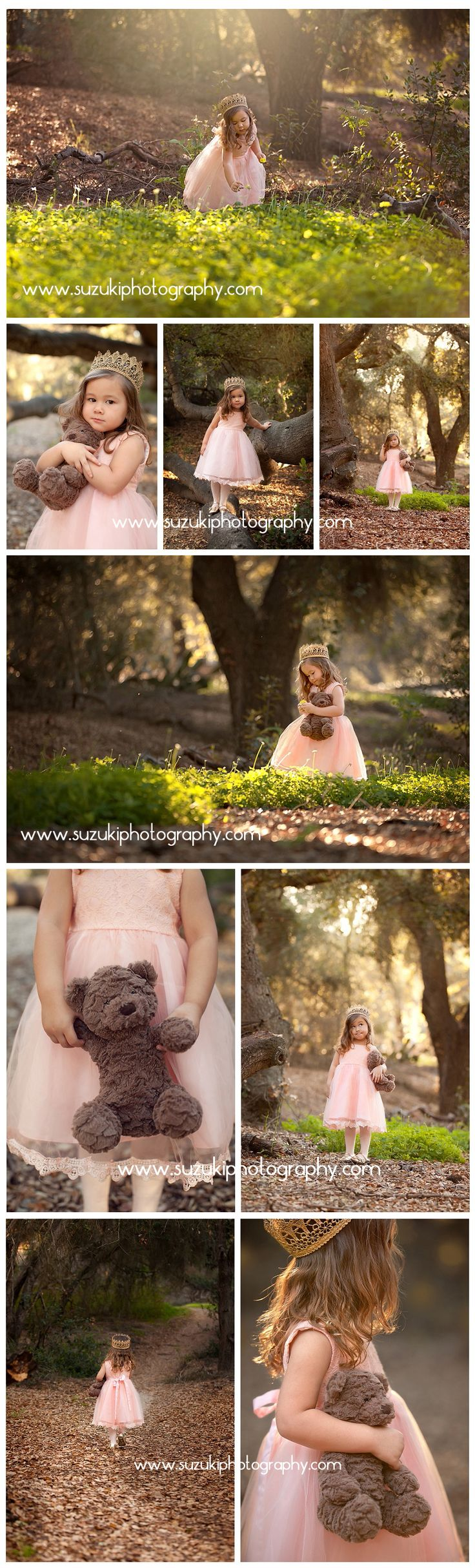 Princess in the forest photo shoot. There is something magical about a little girl in a princess dress with her favorite bear. Suzuki Photography