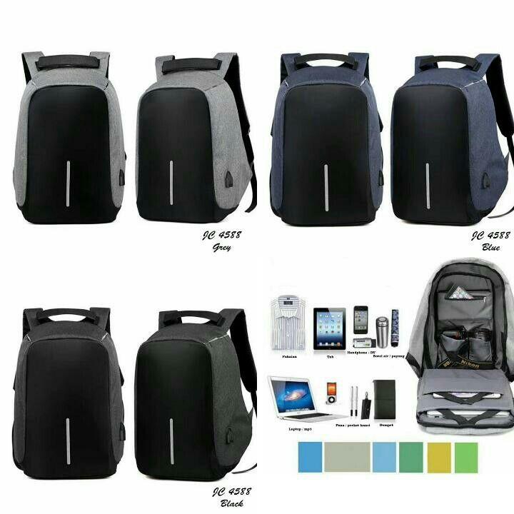 Ransel Anti Maling JC  4588 SIZE              : 26X11X43 CM WEIGHT       : 900 GR  MATERIAL   : NYLON + POLYESTER QUALITY      : PLATINUM BLACK, BLUE, GREY LAPTOP SIZE : 15 INCH GENDER   : UNISEX ( PRIA DAN WANITA COCOK ) FITUR : - ANTI MALING - Dilengkapi USB port          changer Multi space bag / space sangat luas ( laptop, phone, cup, wallet, umbrella, dokumen, camera pocket, zipper pocket, etc ) - dalaman sangat rapi di desain barang tersimpan lebih rapi - anti air / waterproof - design…