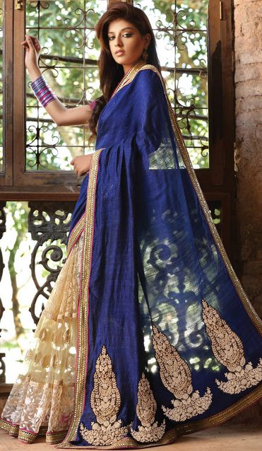 Blue and nude saree. LOVE.