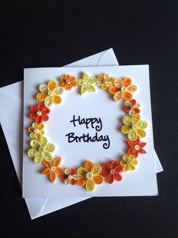 Handmade greeting card made using the art of quilling. Size: 5.5 x 5.5 and i have left the inside of the card blank to allow for your own