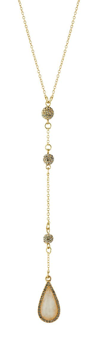 Simply stunning.  A delicate gold chain adorned with smokey gray pave crystals and a teardrop-shaped stone pendant. #necklace
